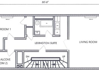 floor plan shows two bedrooms in back and one large room facing street