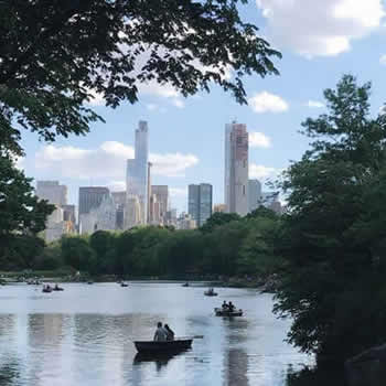 People row in boats on the Central Park Pond with trees & New York City's cityscape in the background